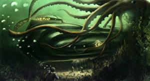 Картинка Иллюстрации к книгам Чудовище Подводный мир Подводные лодки 20,000 Leagues Under the Sea Фантастика