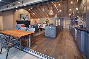 Обои Интерьер Дизайн Кухня Потолок Стол Стулья