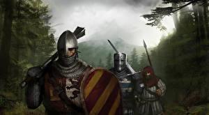 Фотография Рыцарь Воины Средневековье Втроем Щит Шлем Броня