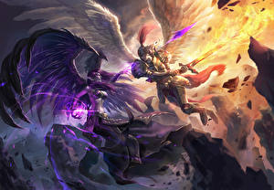 Фото League of Legends Ангелы Битвы Магия Мечи Сражение Morgana vs Kayle Фэнтези Девушки