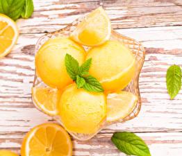 Фотография Лимоны Лист Мятой Желтый Продукты питания