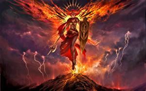 Обои Magic: The Gathering Ангелы Щит Молния Gisela, Blade of Goldnight, Legendary Creature Angel Фэнтези Девушки