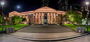 Картинка Мельбурн Австралия Здания Ночные Уличные фонари Лестница State Library Victoria