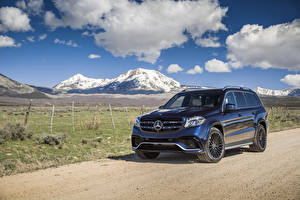 Картинки Mercedes-Benz Синих Металлик 2017 AMG GLS 63 4MATIC Авто