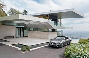 Картинки Мерседес бенц Серебристый E-Class AMG W213 Автомобили