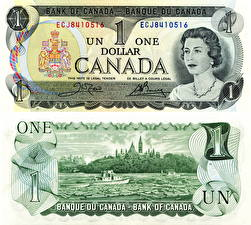 Картинка Деньги Банкноты Канада Доллары 1, 1973