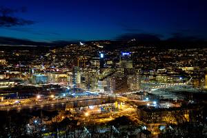 Картинка Норвегия Здания Мегаполис Ночные Oslo