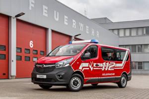 Картинки Opel Красный 2017 Vivaro Combi Feuerwehr Автомобили