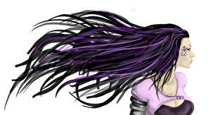 Обои Рисованные Волосы Брюнетка Белый фон