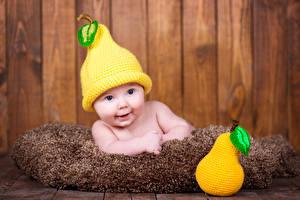 Фото Груши Грудной ребёнок Шапки Улыбка Дети