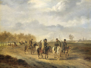 Обои Живопись Лошади Солдаты Pieter Gerardus van Os, Cossacks on a country Road near Bergen in North Holland