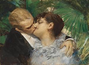 Картинка Картина Любовь 2 Поцелуй Anders Leonard Zorn, The Embrace