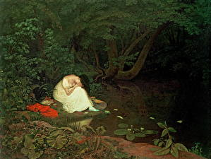 Фотографии Картина Пруд Деревья Сидящие Francis Danby, Disappointed Love