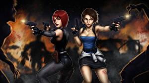 Фотографии Пистолеты Зомби Resident Evil Вдвоем Рыжих Шатенка Выстрелил 3, Regina, Jill Valentine компьютерная игра Девушки Фэнтези