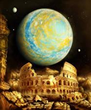 Картинки Планеты Развалины Колизей Ночные Фантастика