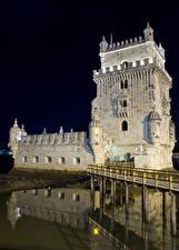 Фотография Португалия Мосты Ночные Torre de Belem Lisbon