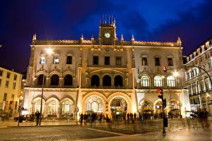 Фотографии Португалия Дома Улица Уличные фонари Ночь Lisbon город