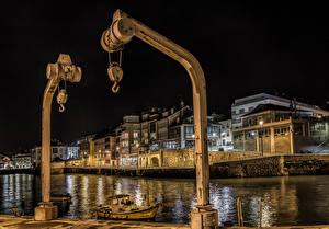 Обои Португалия Дома Речка Причалы Ночь Luanco Asturias