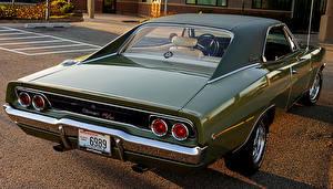 Фотографии Старинные Dodge Зеленая Сзади Фары Charger 1968 авто