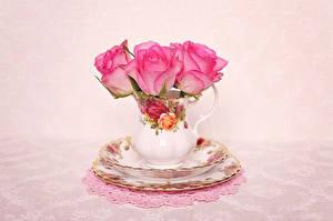 Картинки Розы Тарелка Кувшин Розовый Цветы