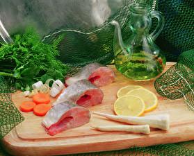 Обои Морепродукты Рыба Лимоны Овощи Укроп Кувшины Пища