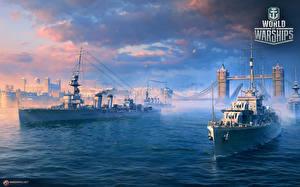 Картинка Корабль World Of Warship Британский Cruisers Игры Армия