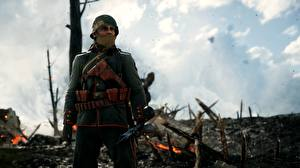 Фотография Солдаты Винтовки Военная каска Battlefield 1
