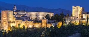 Картинки Испания Крепость Дворец Ночные Деревья Alhambra Granada