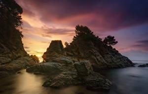 Фото Испания Рассветы и закаты Камень Вечер Скала Almeria Природа