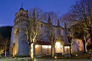 Фото Испания Храмы Церковь Ночные Деревья Penyaserrada