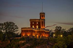 Картинка Стокгольм Швеция Замки Вечер Уличные фонари Kastellholmen