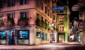Картинка Швейцария Здания Улица Уличные фонари Ночные HDR St.Gallen