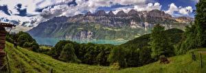 Картинка Швейцария Горы Пейзаж Альпы Walensee, Lake Walen