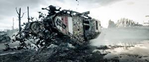 Фото Танки Battlefield 1 Британский В грязи Mark V Игры 3D_Графика