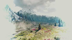 Картинки Ведьмак 3: Дикая Охота Горы Леса Пейзаж Природа