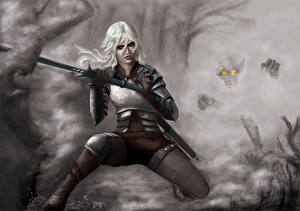 Картинка The Witcher 3: Wild Hunt Воины Блондинка Cirilla fiona elen riannon Девушки Фэнтези