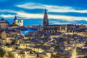 Картинки Толедо Испания Дома Небо Вечер Храмы