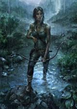 Фото Tomb Raider 2013 Лучники Дождь Мокрые Лара Крофт Девушки