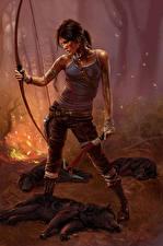 Картинки Tomb Raider 2013 Лучники Волки Лара Крофт Лук оружие Wolf's Lair Игры Девушки