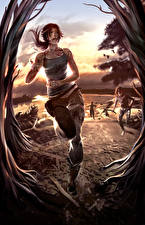 Картинки Tomb Raider 2013 Лара Крофт Бежит компьютерная игра Дети