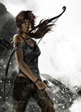 Фотографии Tomb Raider 2013 Пистолеты Лара Крофт Девушки