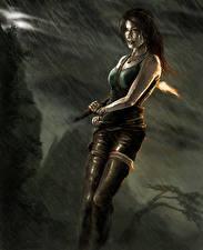 Фото Tomb Raider 2013 Дождь Лара Крофт Влажные Девушки