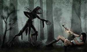 Фотография Tomb Raider Монстры Пистолеты Стрельба Лара Крофт компьютерная игра Девушки