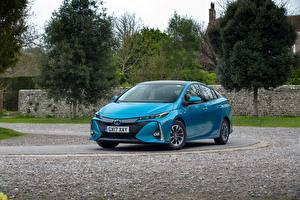 Картинка Toyota Голубых Металлик 2017 Prius Plug-in Hybrid Автомобили
