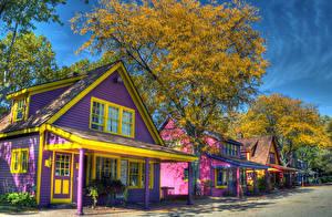 Картинки Штаты Дома Осенние Улица Деревья Canterbury Village MIchigan Города