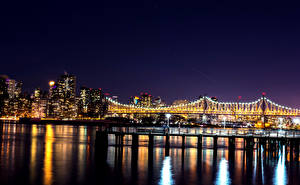 Фотография Штаты Здания Мосты Нью-Йорк Ночь Гирлянда Залив
