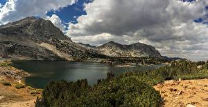 Картинка США Озеро Горы Пейзаж Калифорния Облака Saddlerock Lake Природа