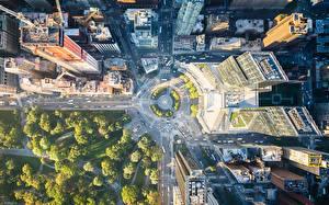 Картинка Штаты Парки Здания Дороги Нью-Йорк Сверху Города