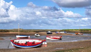 Фотография Великобритания Берег Лодки Небо Облака Norfolk