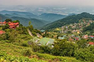 Обои Вьетнам Здания Холмы Tam Dao Города